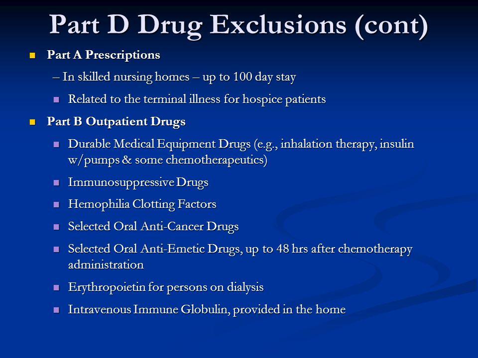 Part D Drug Exclusions (cont)