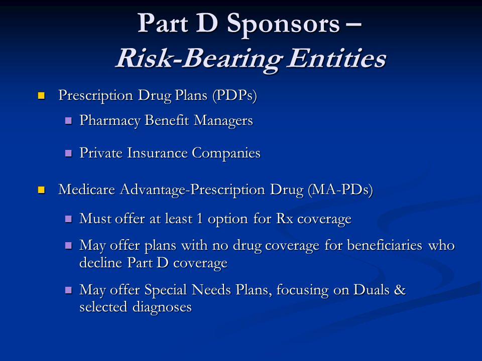 Part D Sponsors – Risk-Bearing Entities
