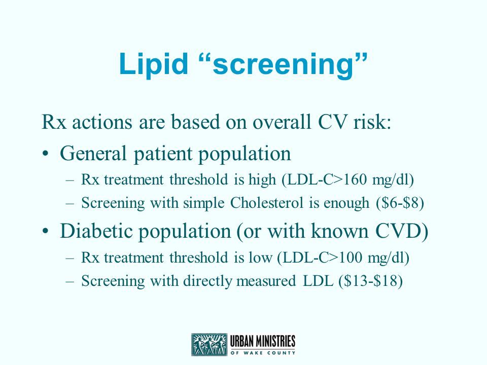 Lipid screening Rx actions are based on overall CV risk: