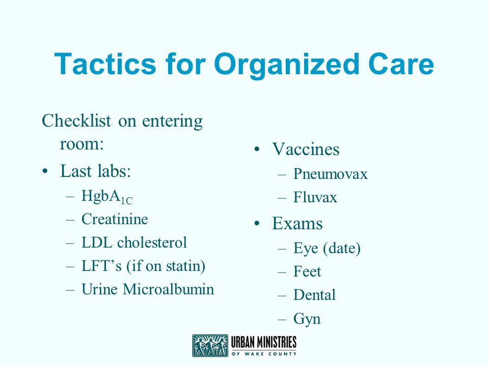 Tactics for Organized Care