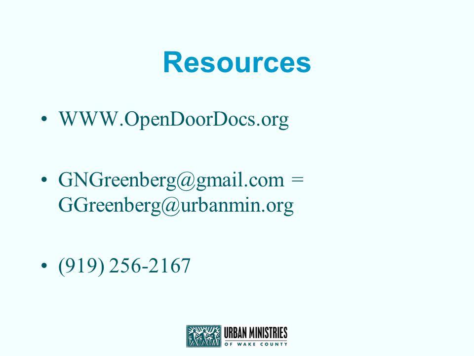 Resources WWW.OpenDoorDocs.org