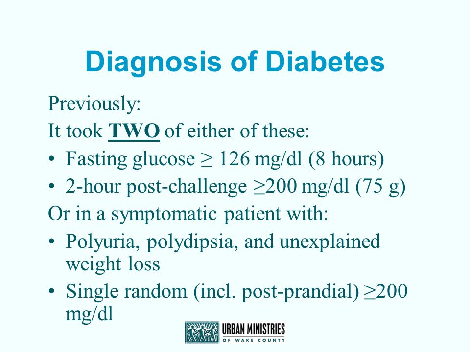 Diagnosis of Diabetes Previously: It took TWO of either of these:
