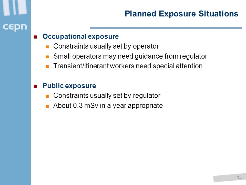 Planned Exposure Situations
