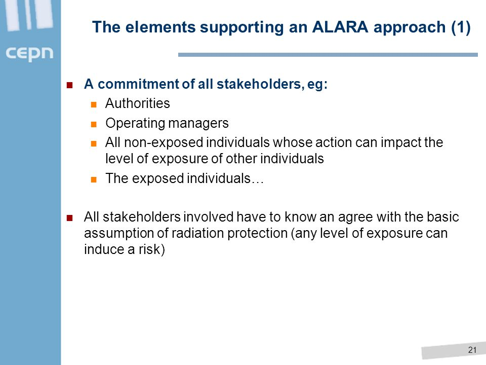 The elements supporting an ALARA approach (1)