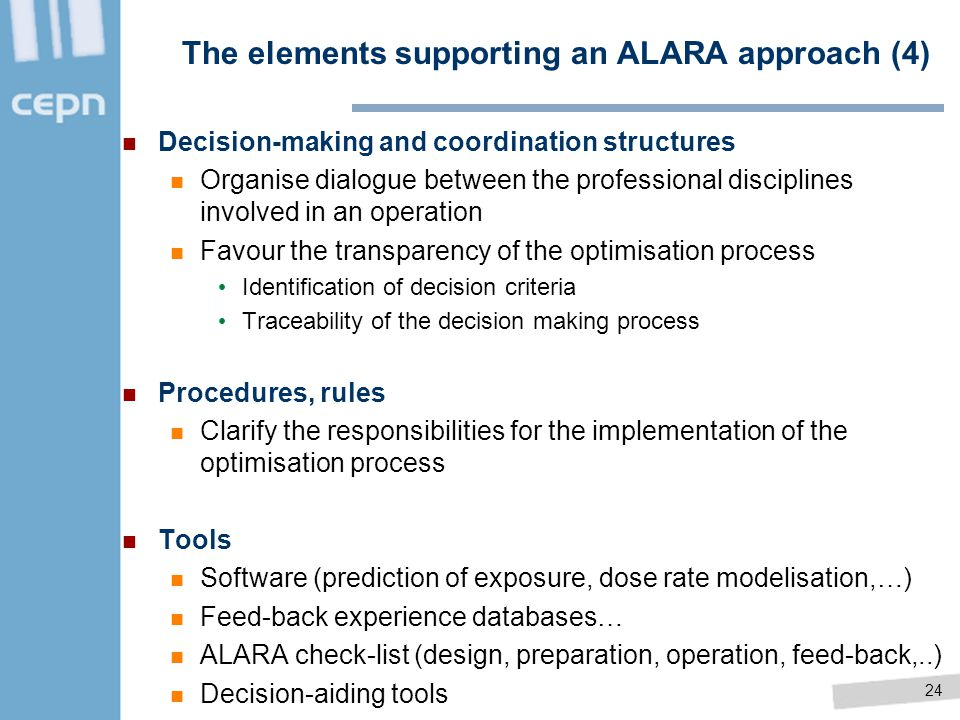 The elements supporting an ALARA approach (4)