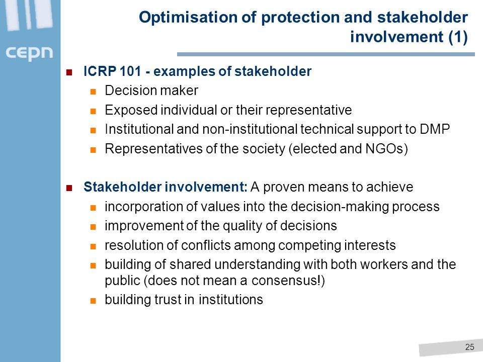 Optimisation of protection and stakeholder involvement (1)