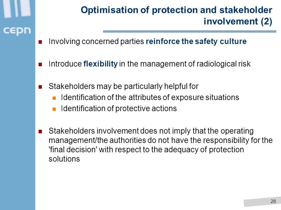 Optimisation of protection and stakeholder involvement (2)