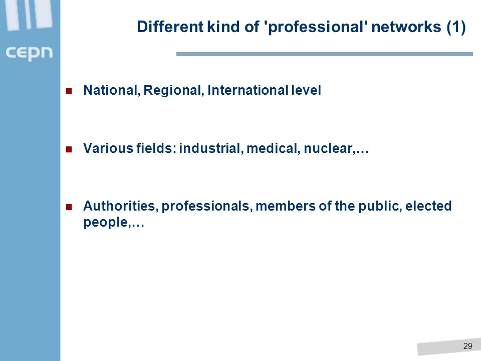 Different kind of professional networks (1)