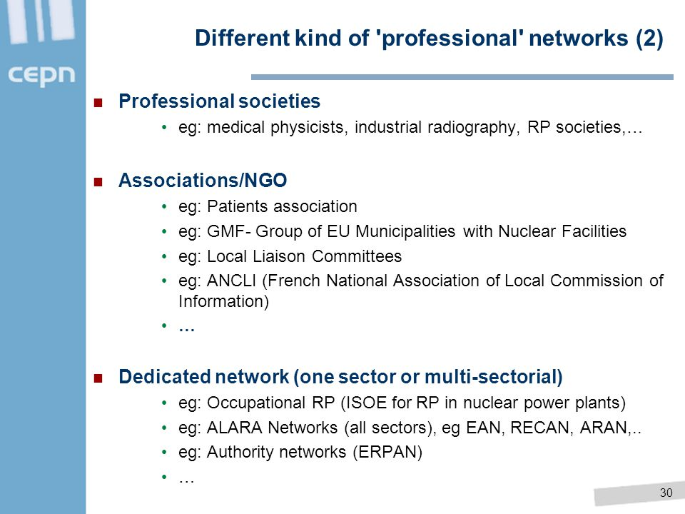 Different kind of professional networks (2)