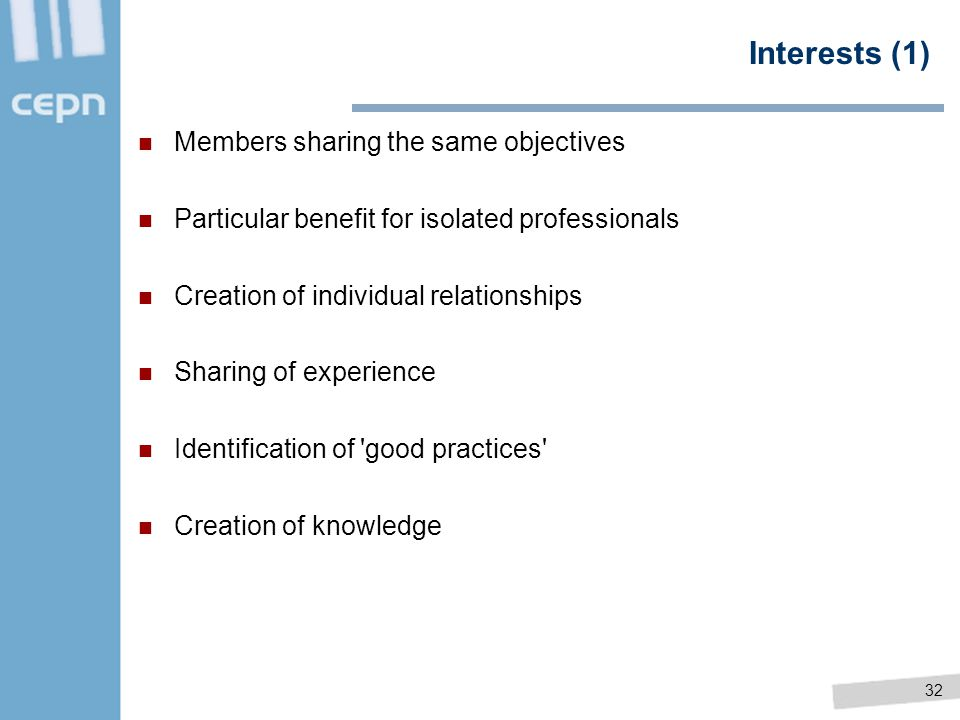Interests (1) Members sharing the same objectives