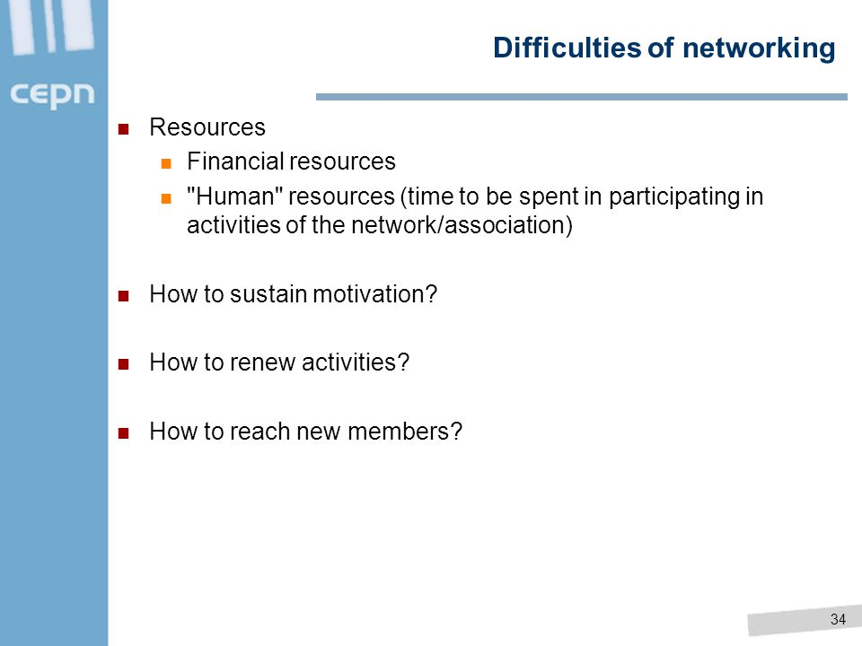 Difficulties of networking