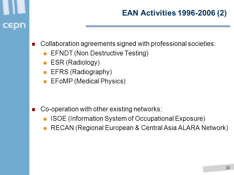 06/04/2017 EAN Activities 1996-2006 (2) Collaboration agreements signed with professional societies: