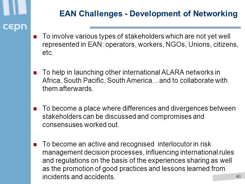 EAN Challenges - Development of Networking
