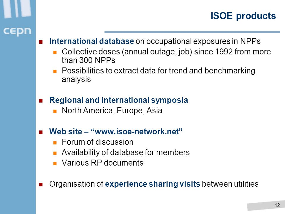 ISOE products International database on occupational exposures in NPPs