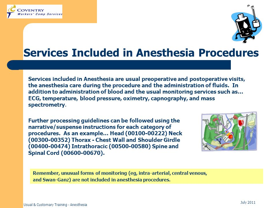 Services Included in Anesthesia Procedures
