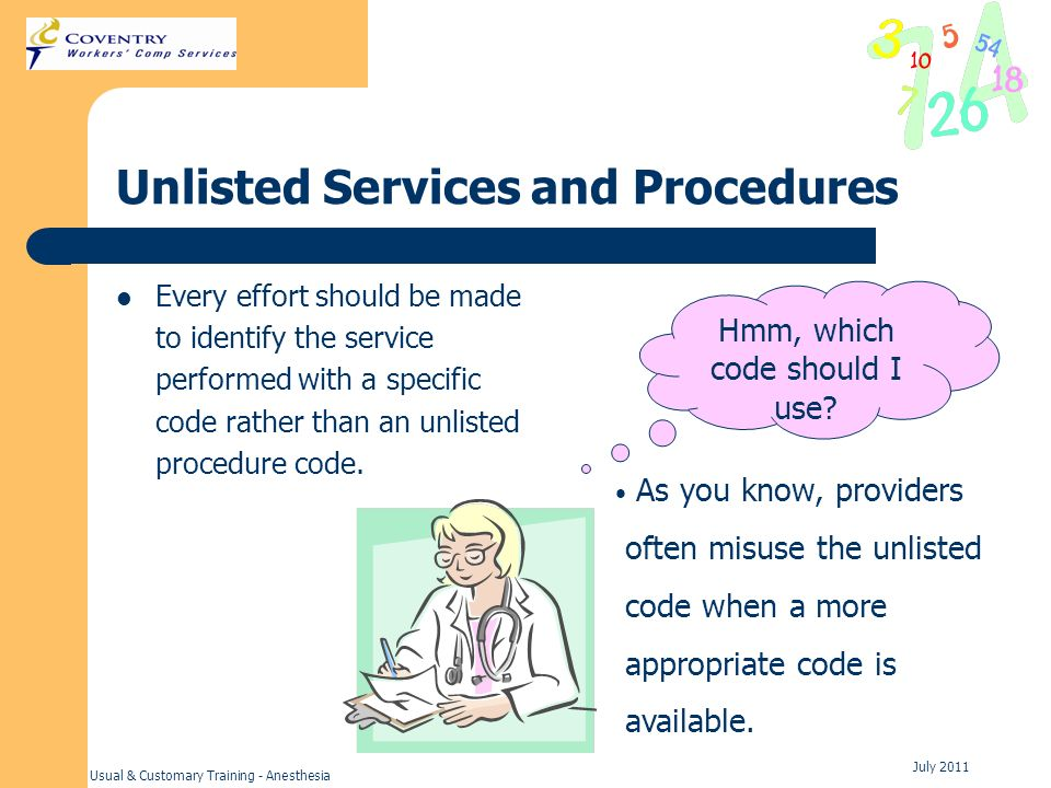 Unlisted Services and Procedures