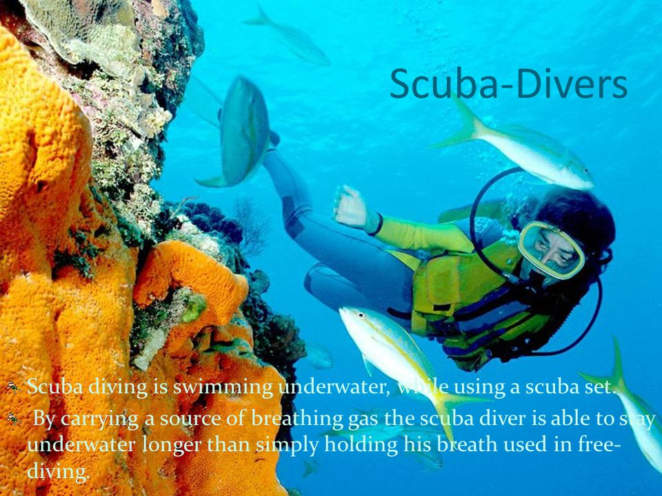 Scuba-Divers Scuba diving is swimming underwater, while using a scuba set.