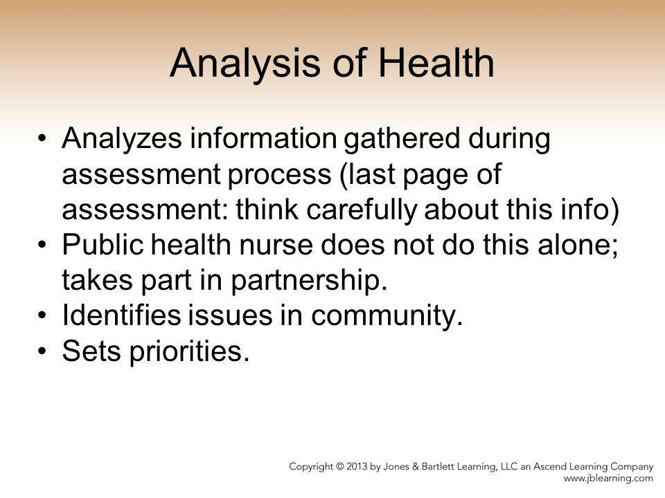 Analysis of Health Analyzes information gathered during assessment process (last page of assessment: think carefully about this info)