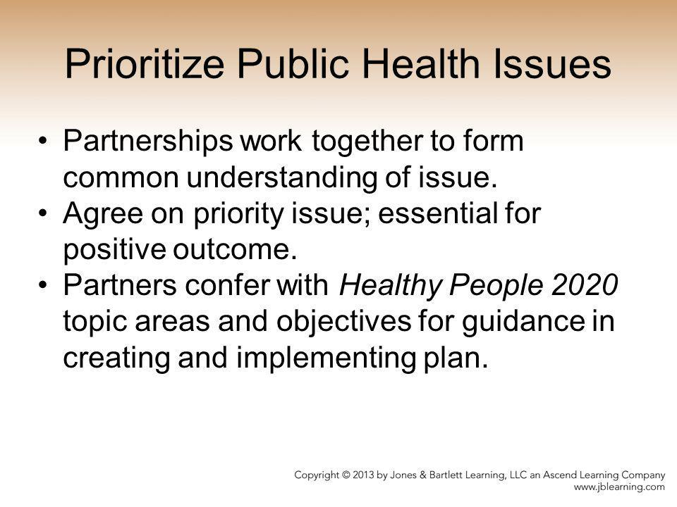 Prioritize Public Health Issues