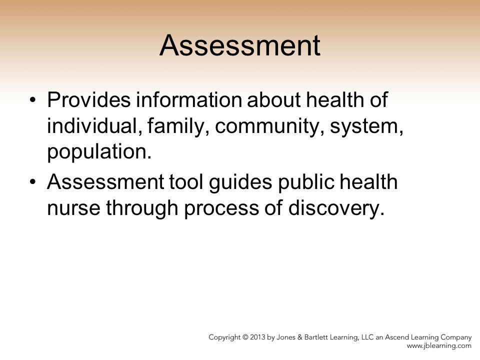Assessment Provides information about health of individual, family, community, system, population.