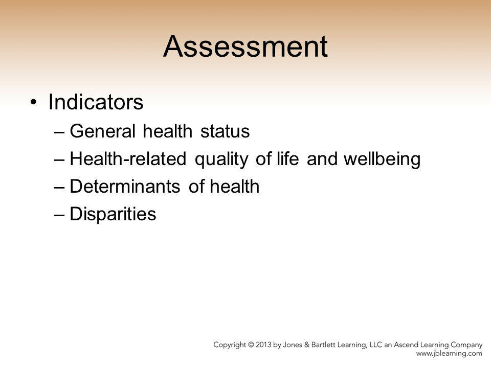 Assessment Indicators General health status