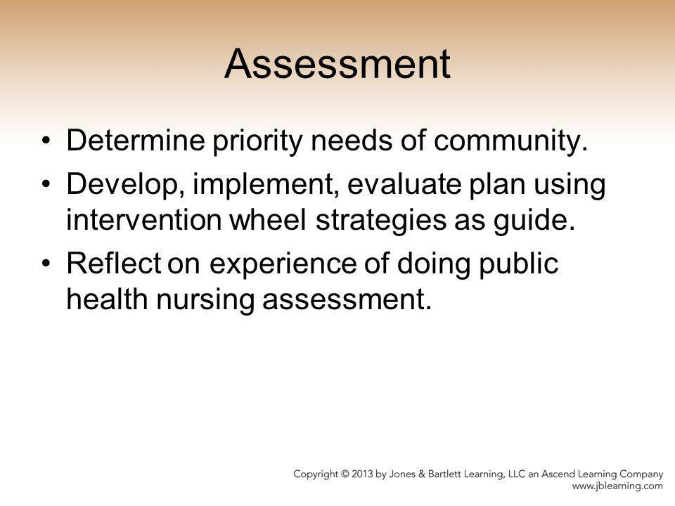 Assessment Determine priority needs of community.