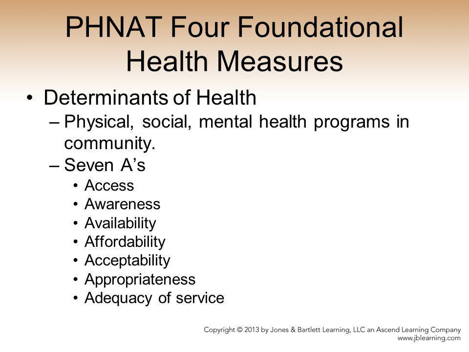 PHNAT Four Foundational Health Measures