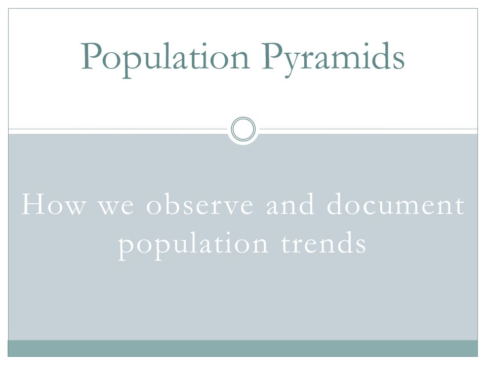 How we observe and document population trends