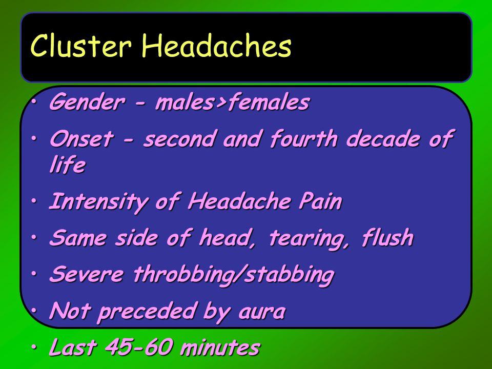 Cluster Headaches Gender - males>females