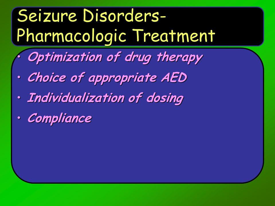 Seizure Disorders- Pharmacologic Treatment
