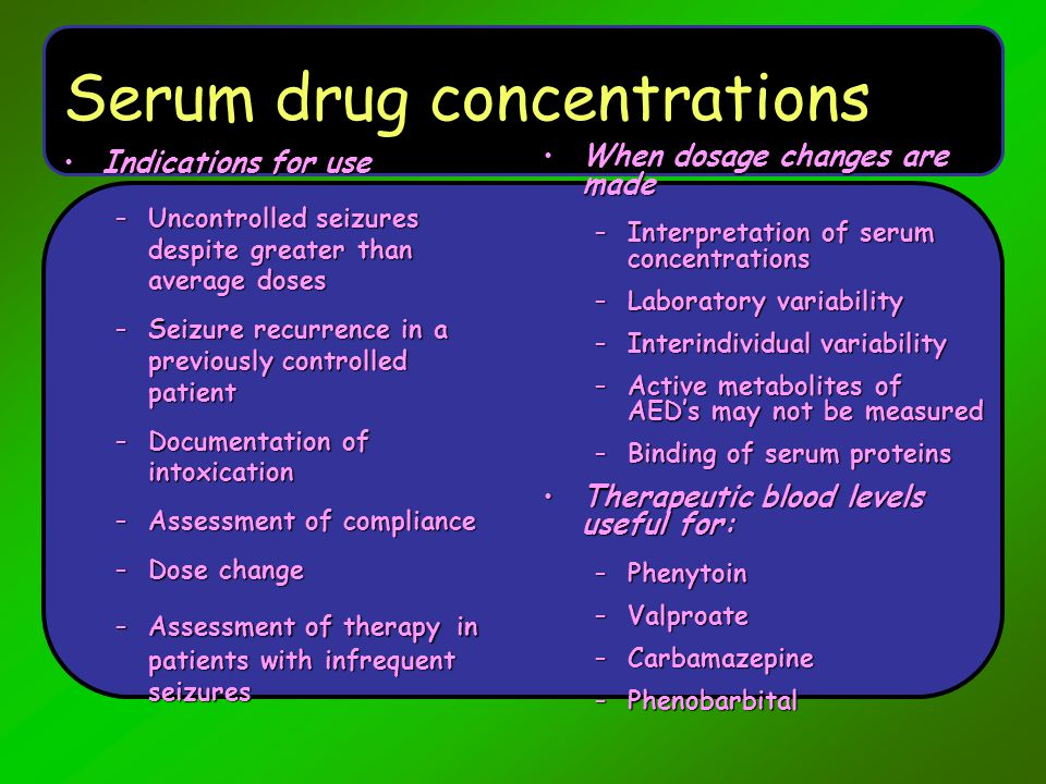Serum drug concentrations