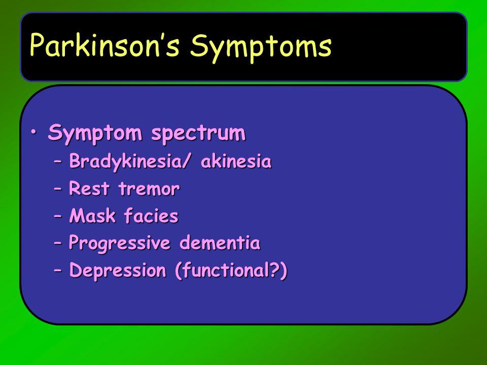 Parkinson's Symptoms Symptom spectrum Bradykinesia/ akinesia