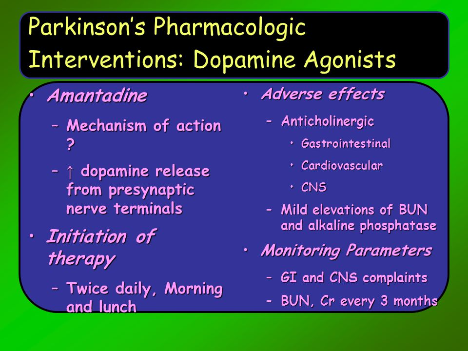 Parkinson's Pharmacologic Interventions: Dopamine Agonists