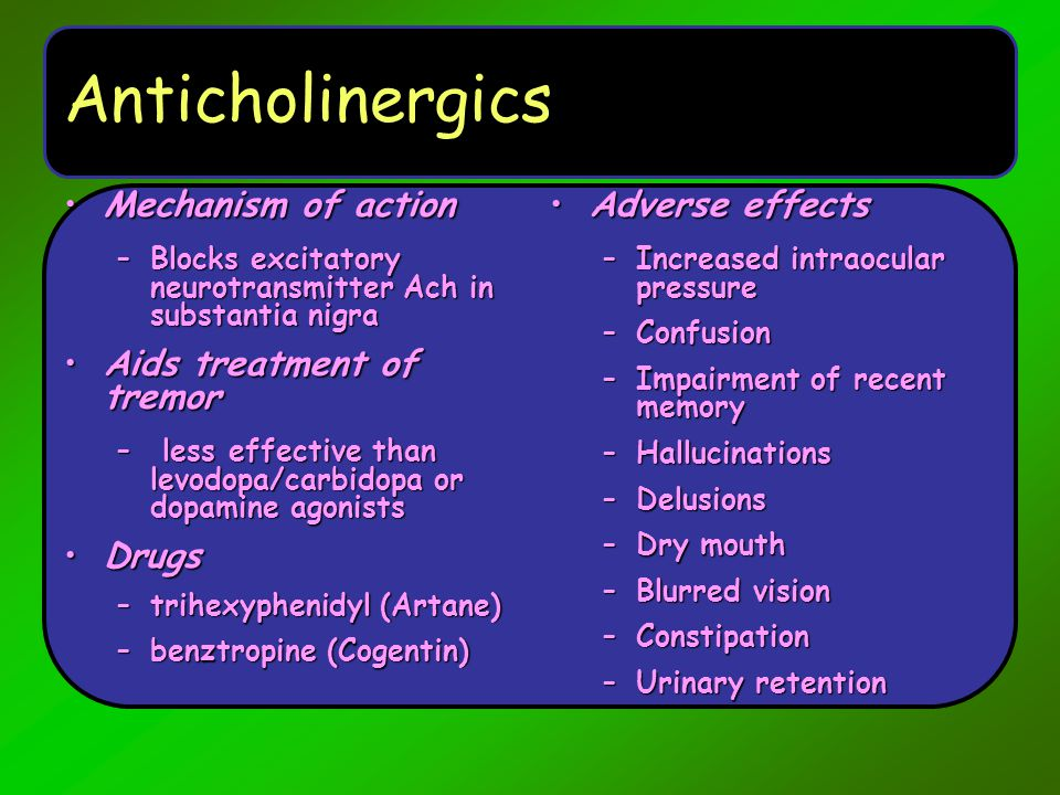 Anticholinergics Mechanism of action Aids treatment of tremor Drugs