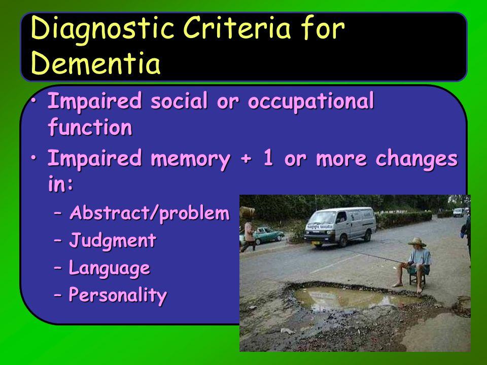 Diagnostic Criteria for Dementia
