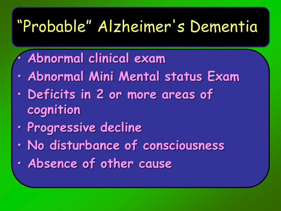 Probable Alzheimer s Dementia