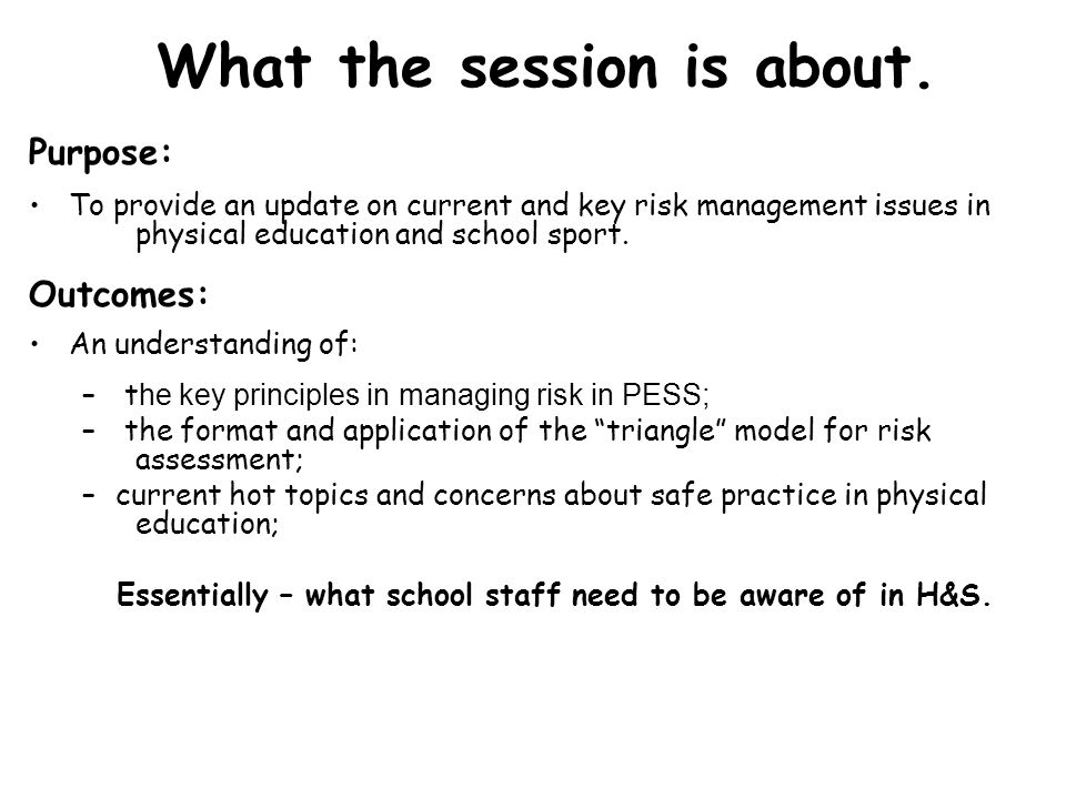 What the session is about.