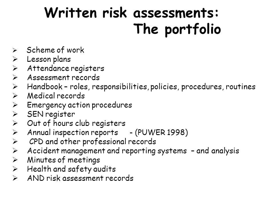 Written risk assessments: The portfolio