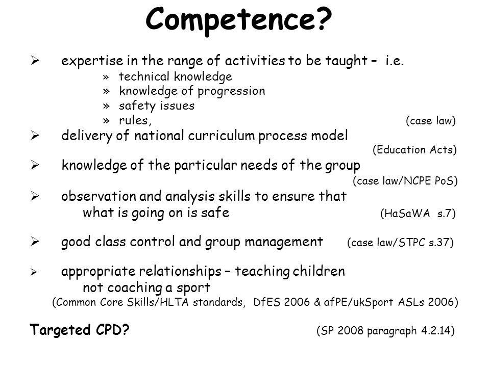 Competence expertise in the range of activities to be taught – i.e.
