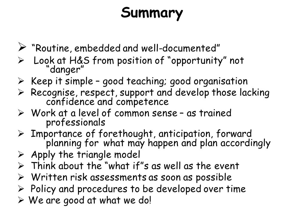 Summary Routine, embedded and well-documented