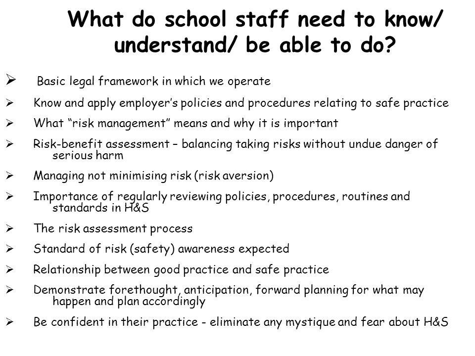 What do school staff need to know/ understand/ be able to do