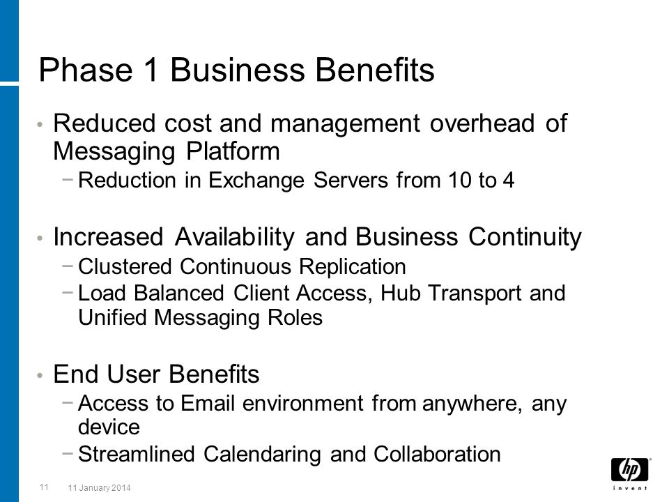 Phase 1 Business Benefits