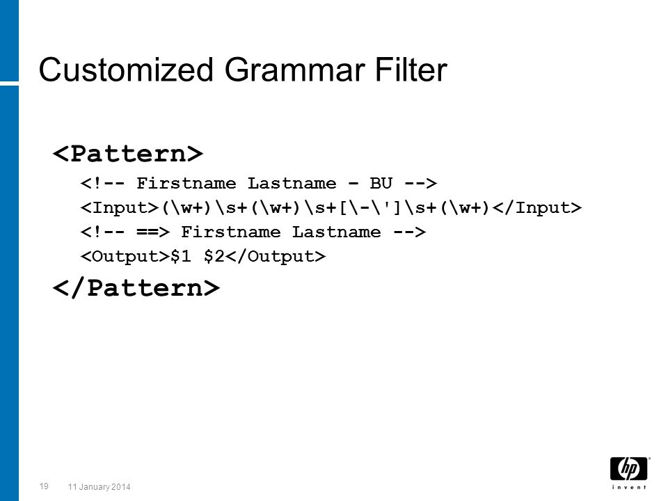 Customized Grammar Filter