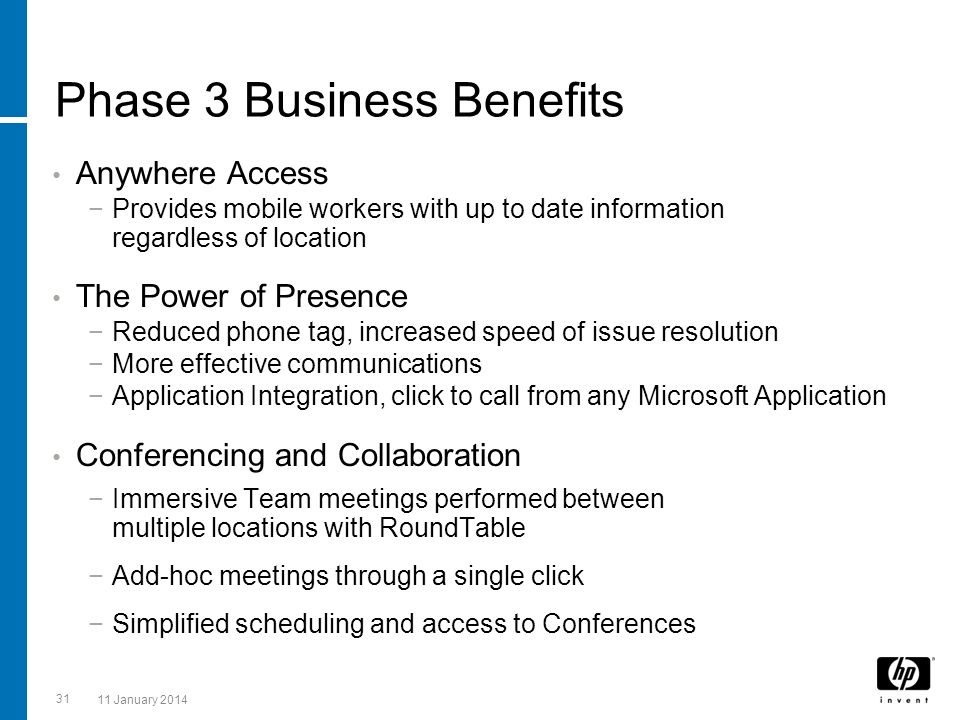 Phase 3 Business Benefits