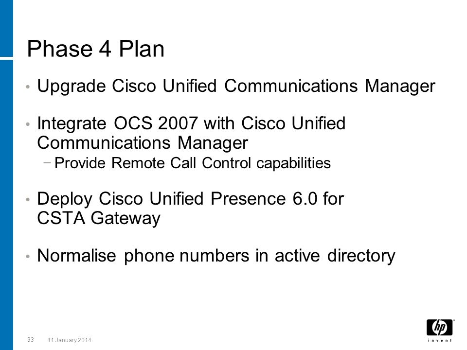 Phase 4 Plan Upgrade Cisco Unified Communications Manager