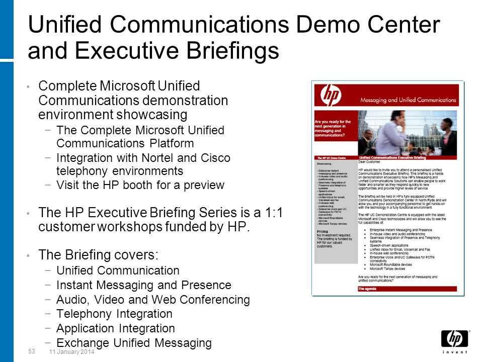 Unified Communications Demo Center and Executive Briefings