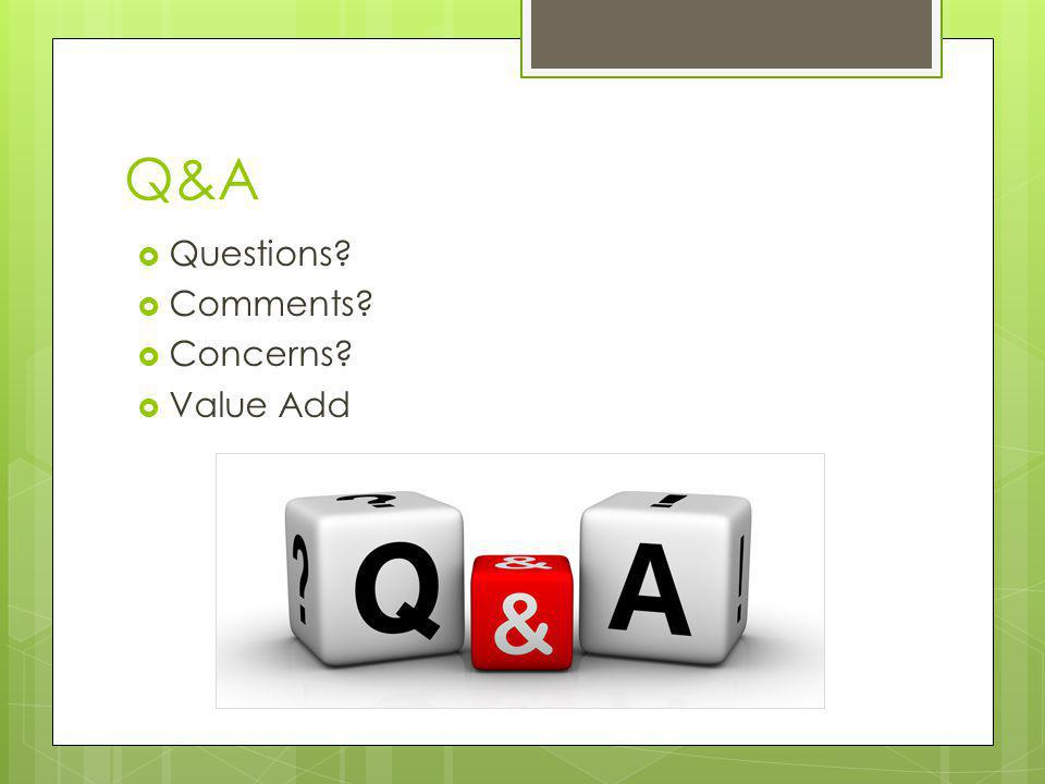 Q&A Questions Comments Concerns Value Add