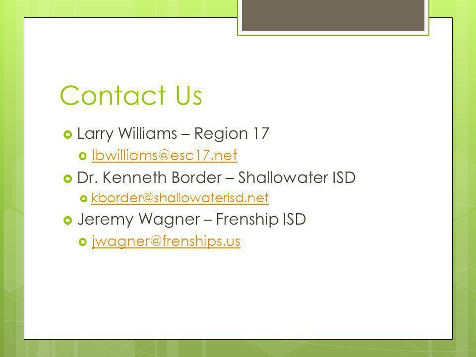 Contact Us Larry Williams – Region 17