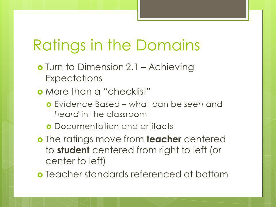 Ratings in the Domains Turn to Dimension 2.1 – Achieving Expectations