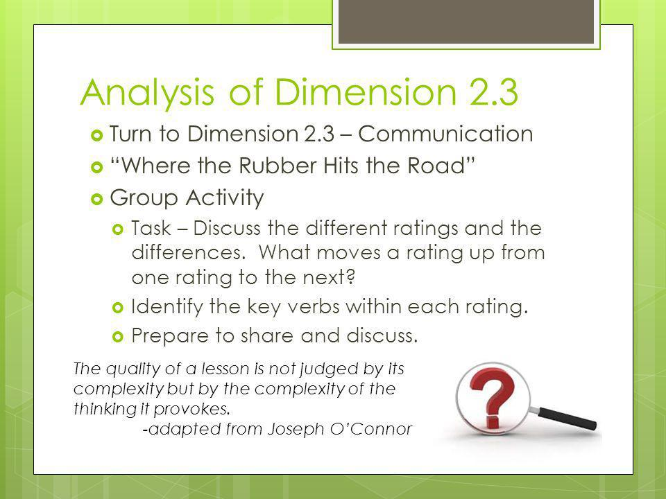 Analysis of Dimension 2.3 Turn to Dimension 2.3 – Communication